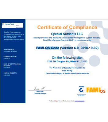 FAMI Certificate-Special Nutrients LLC-2021