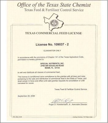 Texas Feed License