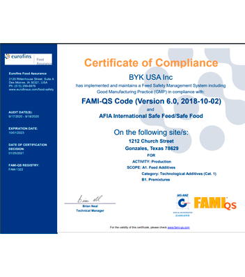 FAMI-QS V6.0 ISFSF Certificate-BYK USA Inc